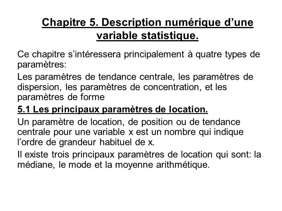 Chapitre 5. Description numérique dune variable statistique. Ce chapitre sintéressera principalement à quatre types de paramètres: Les paramètres de t