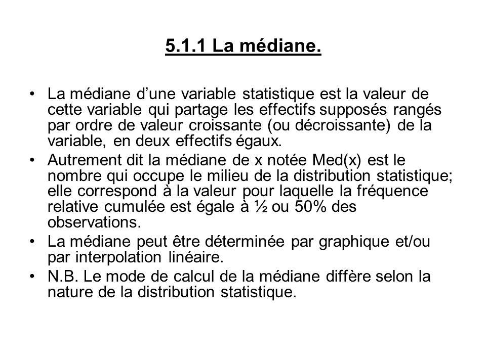 5.1.1 La médiane. La médiane dune variable statistique est la valeur de cette variable qui partage les effectifs supposés rangés par ordre de valeur c