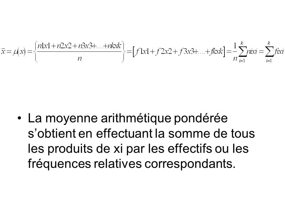 La moyenne arithmétique pondérée sobtient en effectuant la somme de tous les produits de xi par les effectifs ou les fréquences relatives correspondan