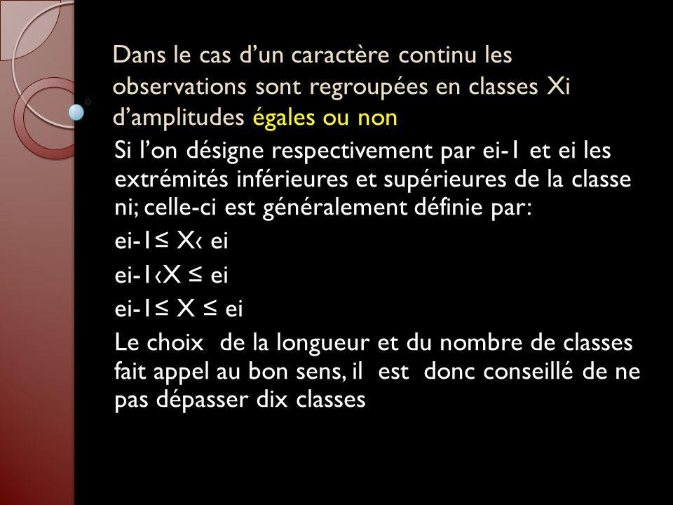 Dans le cas dun caractère continu les observations sont regroupées en classes Xi damplitudes égales ou non Si lon désigne respectivement par ei-1 et e