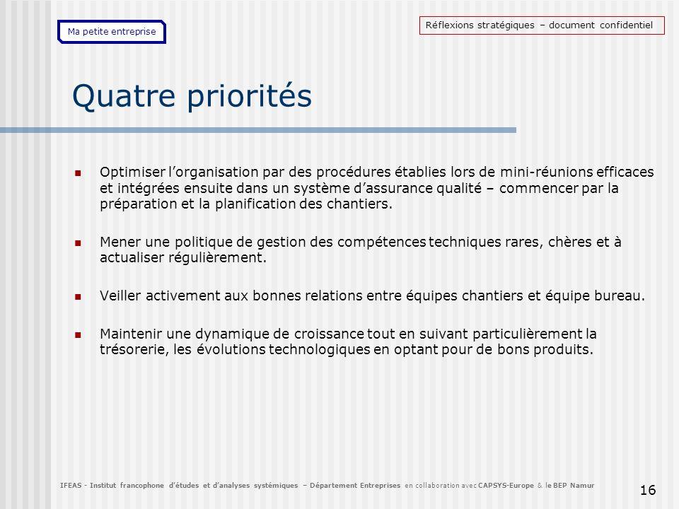 Ma petite entreprise 16 Quatre priorités Optimiser lorganisation par des procédures établies lors de mini-réunions efficaces et intégrées ensuite dans