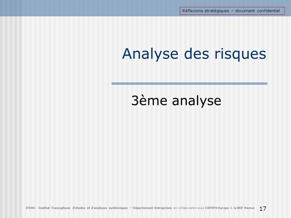 Analyse des risques 3ème analyse 17 IFEAS - Institut francophone détudes et danalyses systémiques – Département Entreprises en collaboration avec CAPS
