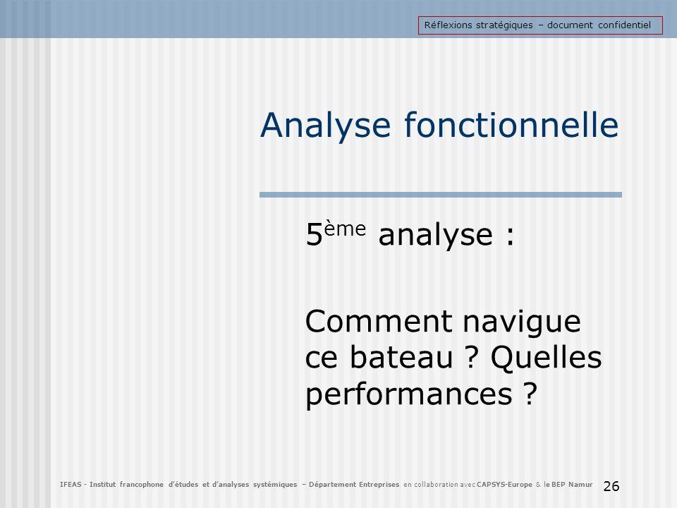 Analyse fonctionnelle 5 ème analyse : Comment navigue ce bateau ? Quelles performances ? 26 IFEAS - Institut francophone détudes et danalyses systémiq