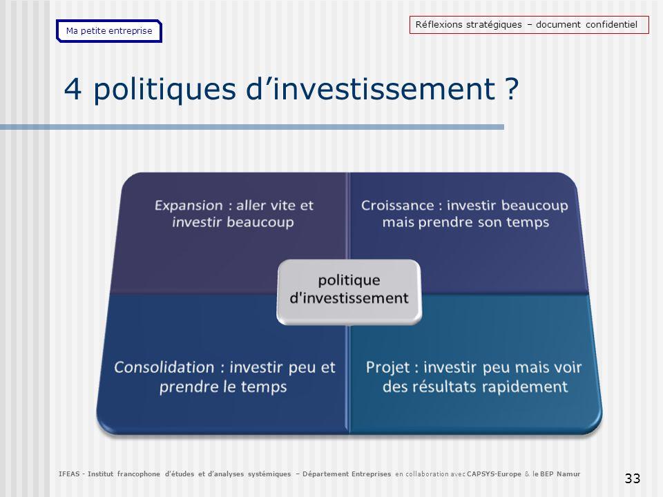Ma petite entreprise 4 politiques dinvestissement ? 33 IFEAS - Institut francophone détudes et danalyses systémiques – Département Entreprises en coll
