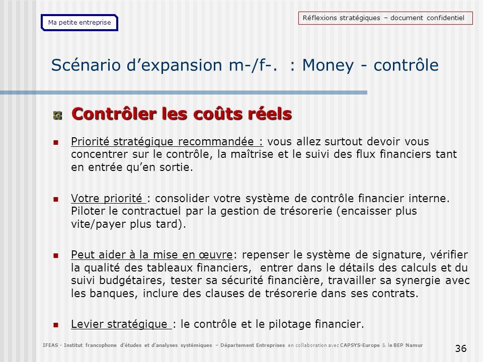 Ma petite entreprise 36 Scénario dexpansion m-/f-. : Money - contrôle Contrôler les coûts réels Priorité stratégique recommandée : vous allez surtout