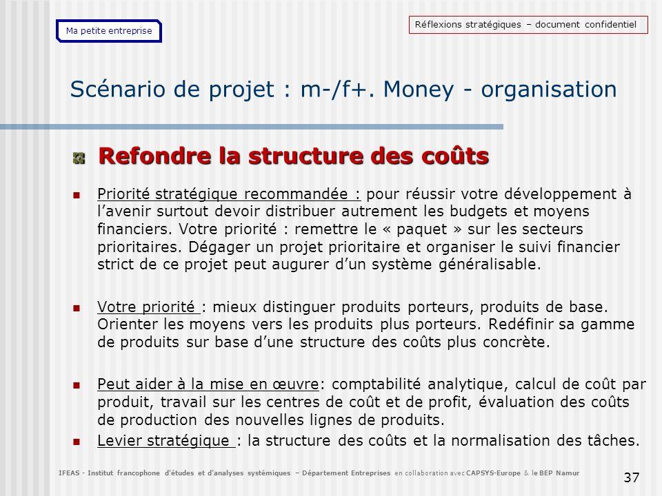 Ma petite entreprise 37 Scénario de projet : m-/f+. Money - organisation Refondre la structure des coûts Priorité stratégique recommandée : pour réuss