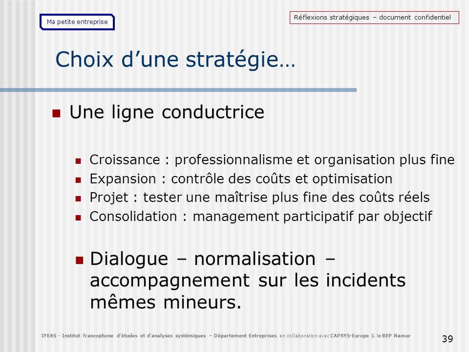 Ma petite entreprise Choix dune stratégie… Une ligne conductrice Croissance : professionnalisme et organisation plus fine Expansion : contrôle des coû