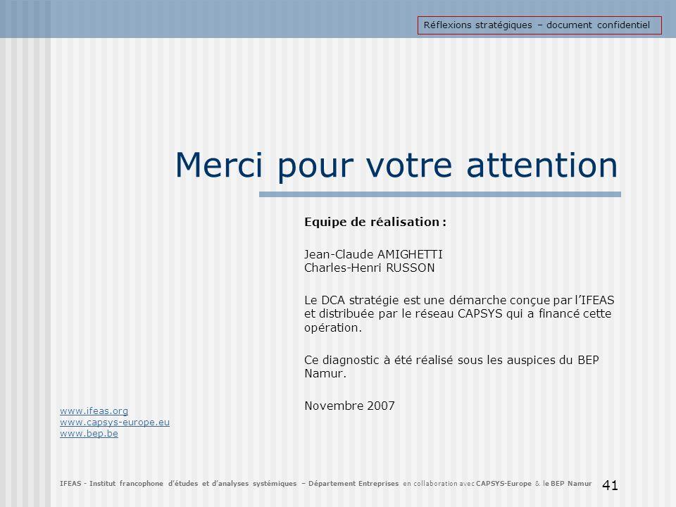 41 Merci pour votre attention Equipe de réalisation : Jean-Claude AMIGHETTI Charles-Henri RUSSON Le DCA stratégie est une démarche conçue par lIFEAS e