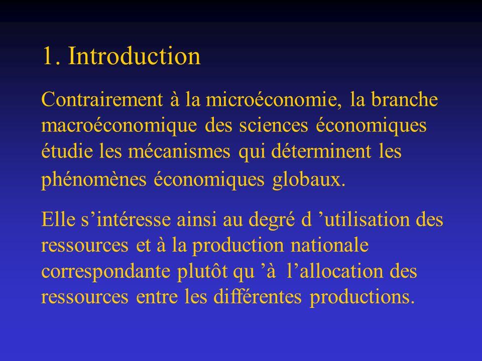 1. Introduction Contrairement à la microéconomie, la branche macroéconomique des sciences économiques étudie les mécanismes qui déterminent les phénom