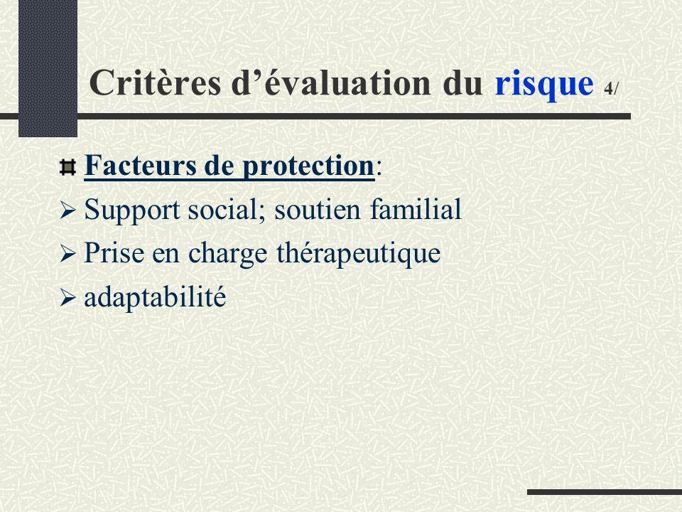 Critères dévaluation du risque 4/ Facteurs de protection: Support social; soutien familial Prise en charge thérapeutique adaptabilité