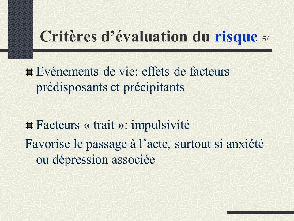 Critères dévaluation du risque 5/ Evénements de vie: effets de facteurs prédisposants et précipitants Facteurs « trait »: impulsivité Favorise le passage à lacte, surtout si anxiété ou dépression associée