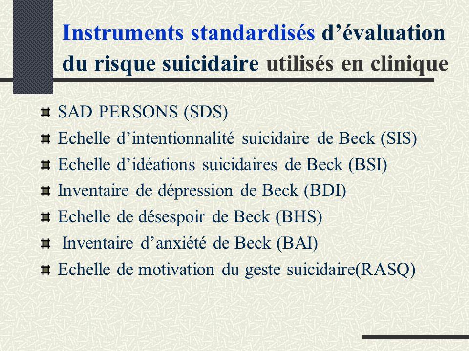 Instruments standardisés dévaluation du risque suicidaire utilisés en clinique SAD PERSONS (SDS) Echelle dintentionnalité suicidaire de Beck (SIS) Echelle didéations suicidaires de Beck (BSI) Inventaire de dépression de Beck (BDI) Echelle de désespoir de Beck (BHS) Inventaire danxiété de Beck (BAI) Echelle de motivation du geste suicidaire(RASQ)