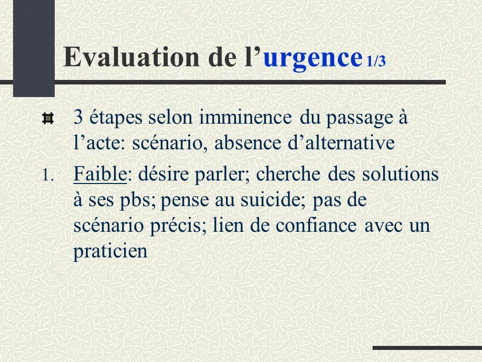 Evaluation de lurgence 1/3 3 étapes selon imminence du passage à lacte: scénario, absence dalternative 1.