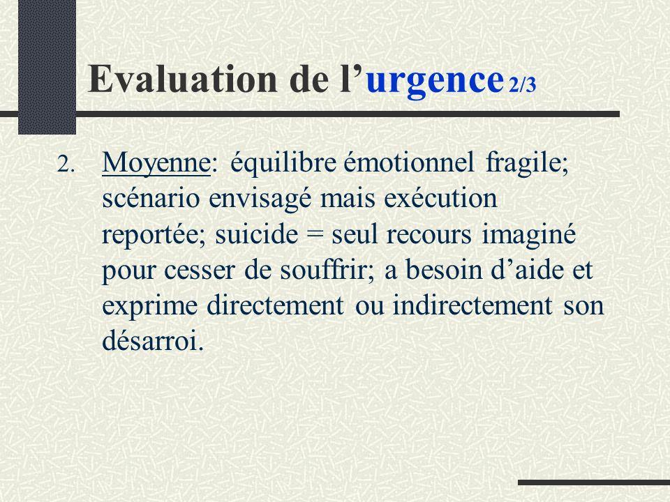 2. Moyenne: équilibre émotionnel fragile; scénario envisagé mais exécution reportée; suicide = seul recours imaginé pour cesser de souffrir; a besoin