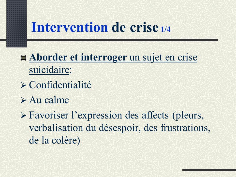 Intervention de crise 1/4 Aborder et interroger un sujet en crise suicidaire: Confidentialité Au calme Favoriser lexpression des affects (pleurs, verbalisation du désespoir, des frustrations, de la colère)