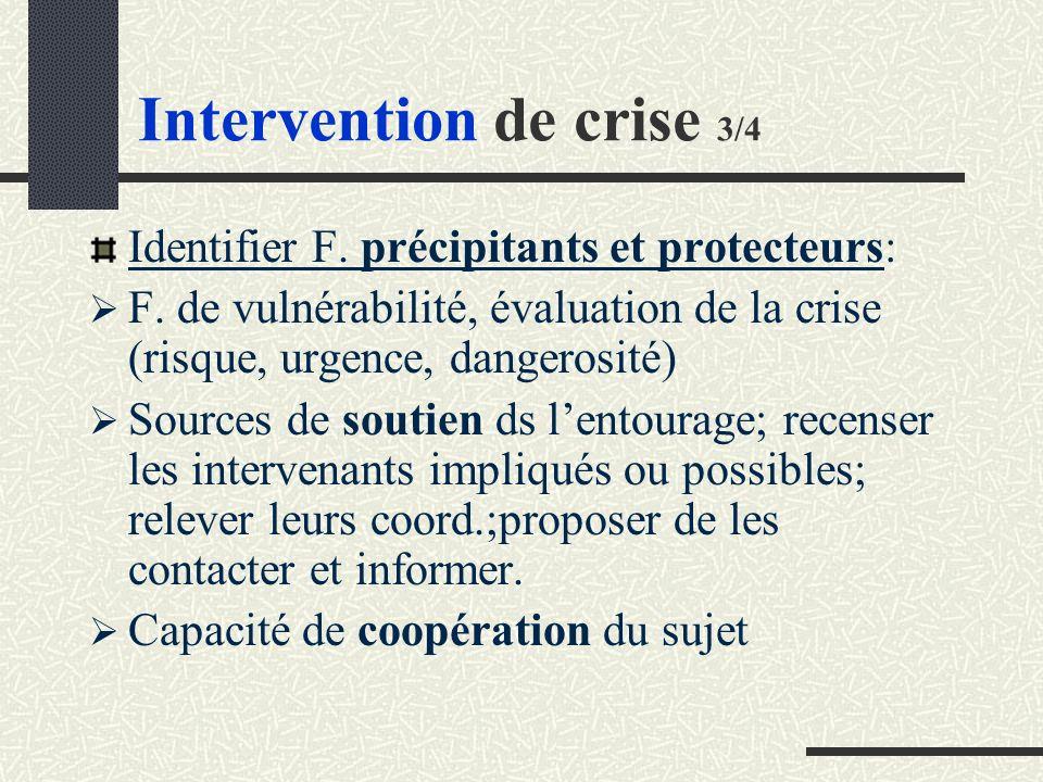 Intervention de crise 3/4 Identifier F.précipitants et protecteurs: F.