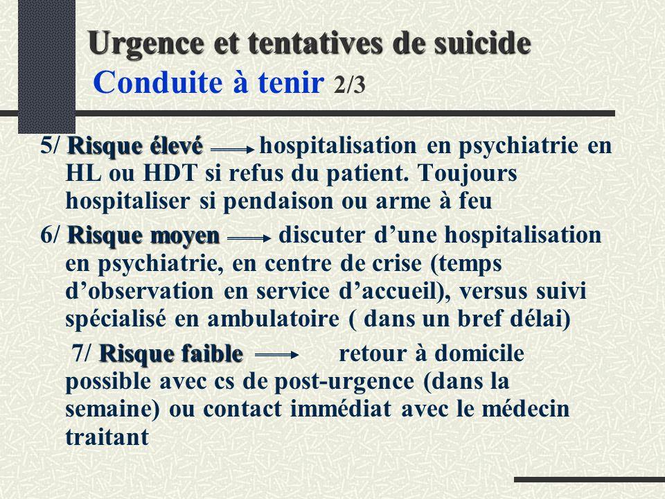 Urgence et tentatives de suicide Urgence et tentatives de suicide Conduite à tenir 2/3 Risque élevé 5/ Risque élevé hospitalisation en psychiatrie en HL ou HDT si refus du patient.