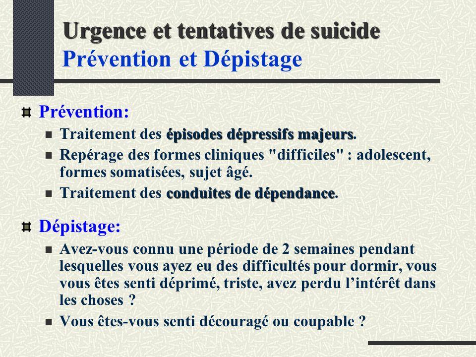 Urgence et tentatives de suicide Urgence et tentatives de suicide Prévention et Dépistage Prévention: épisodes dépressifs majeurs Traitement des épisodes dépressifs majeurs.