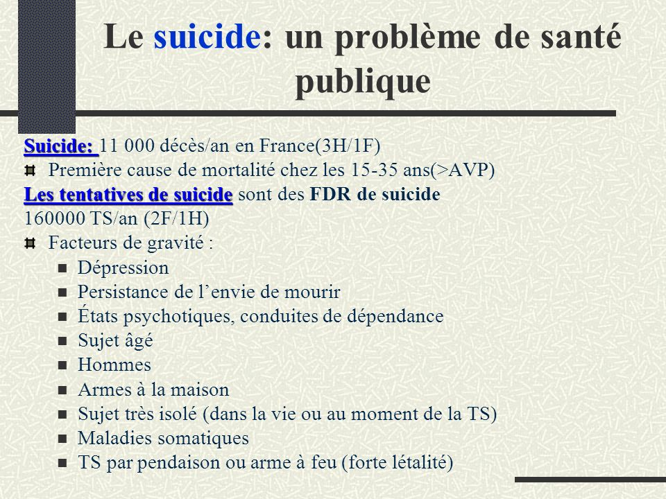 Instruments standardisés dévaluation du risque suicidaire utilisés en clinique SPS = seule échelle utilisée aux urgences pour étayer la décision dune éventuelle admission en fonction du degré de suicidalité du patient (seuil à 6) évaluateur; 10 items = F d R de suicide; score total: 0 à 14 (risque suicidaire le + élevé) Cochrane-Brink K.A.
