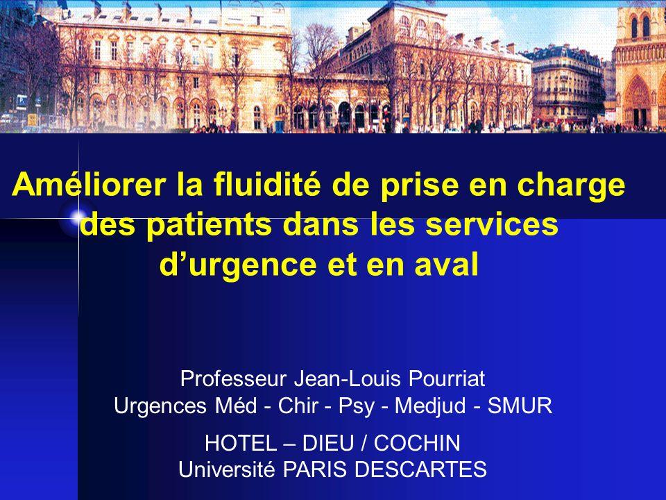 Améliorer la fluidité de prise en charge des patients dans les services durgence et en aval Professeur Jean-Louis Pourriat Urgences Méd - Chir - Psy -