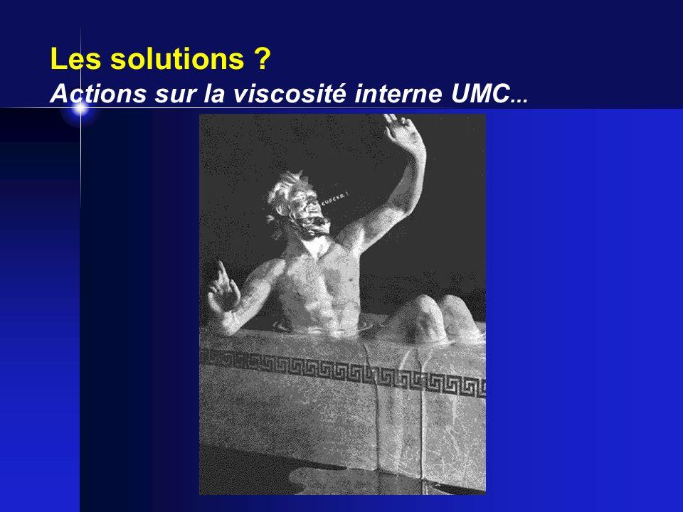 Les solutions ? Actions sur la viscosité interne UMC …