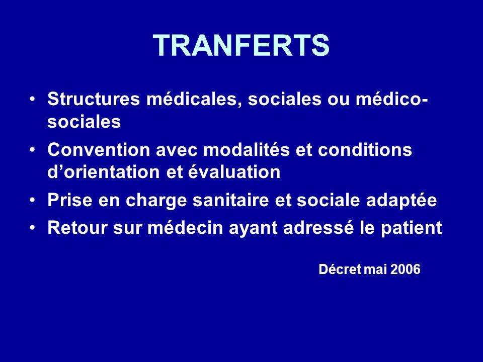 TRANFERTS Structures médicales, sociales ou médico- sociales Convention avec modalités et conditions dorientation et évaluation Prise en charge sanita