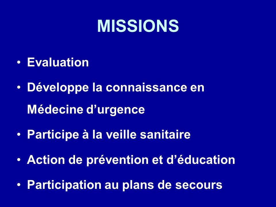 MISSIONS Evaluation Développe la connaissance en Médecine durgence Participe à la veille sanitaire Action de prévention et déducation Participation au