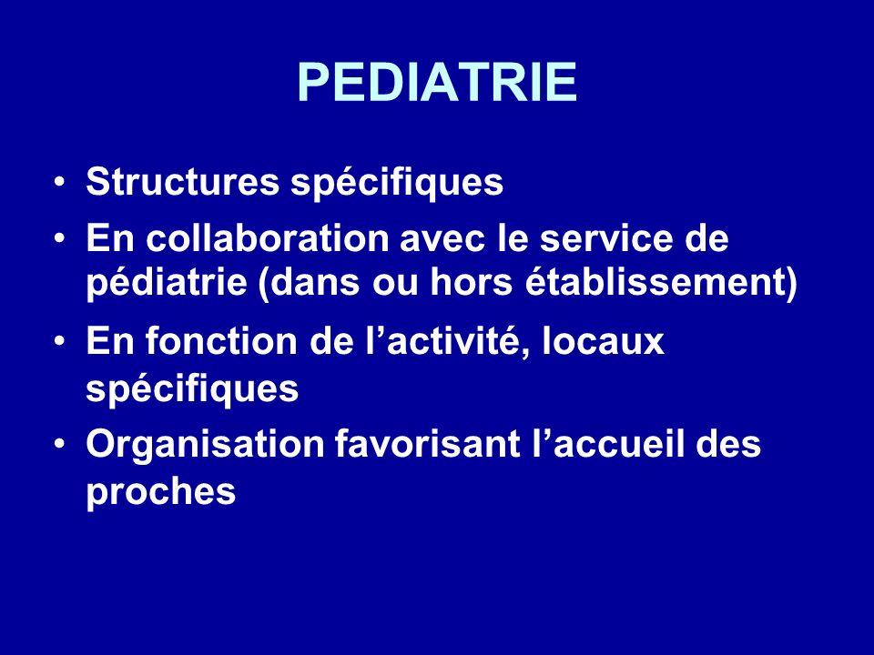 PEDIATRIE Structures spécifiques En collaboration avec le service de pédiatrie (dans ou hors établissement) En fonction de lactivité, locaux spécifiqu