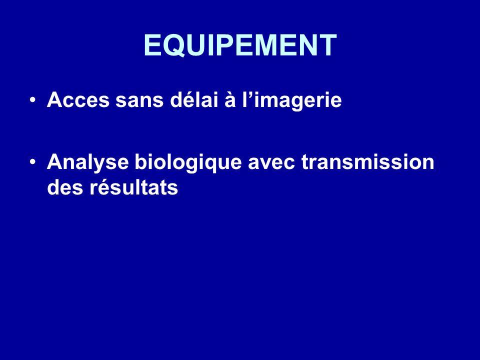 EQUIPEMENT Acces sans délai à limagerie Analyse biologique avec transmission des résultats