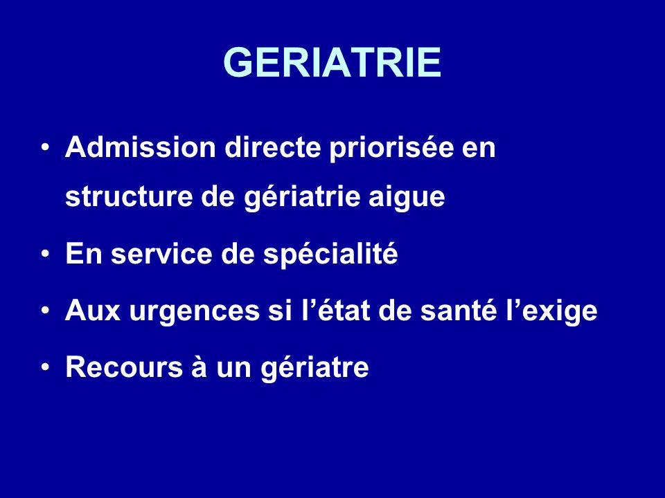GERIATRIE Admission directe priorisée en structure de gériatrie aigue En service de spécialité Aux urgences si létat de santé lexige Recours à un géri