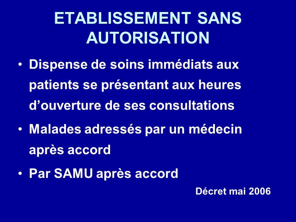 ETABLISSEMENT SANS AUTORISATION Dispense de soins immédiats aux patients se présentant aux heures douverture de ses consultations Malades adressés par