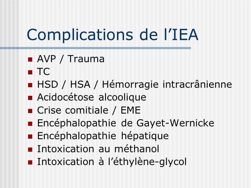 Complications de lIEA AVP / Trauma TC HSD / HSA / Hémorragie intracrânienne Acidocétose alcoolique Crise comitiale / EME Encéphalopathie de Gayet-Wern