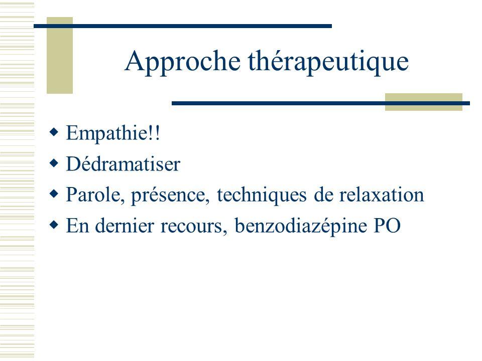 Approche thérapeutique Empathie!! Dédramatiser Parole, présence, techniques de relaxation En dernier recours, benzodiazépine PO