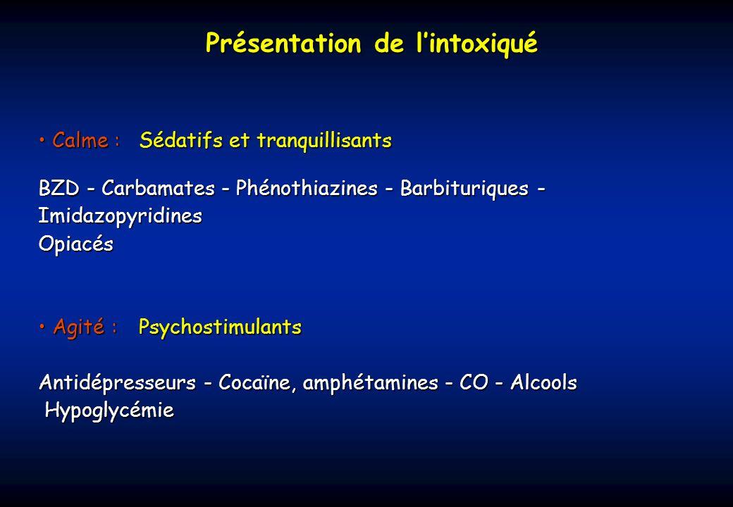 Pupilles Mydriase peu aréactive Antidépresseurs tricycliques Cocaïne Phénothiazines antihistaminiques ButyrophénonesMéthanolHaschichCarbamazépineAtropineSympathomimétiques Chloralose et chloral Myosis serré Opiacés et opioïdes Anticholinestérasiques (insecticides, organophosphorés, carbamates) Phénothiazines sédatives