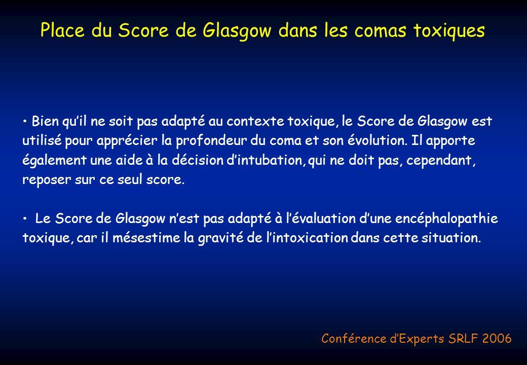 Bien quil ne soit pas adapté au contexte toxique, le Score de Glasgow est utilisé pour apprécier la profondeur du coma et son évolution. Il apporte ég