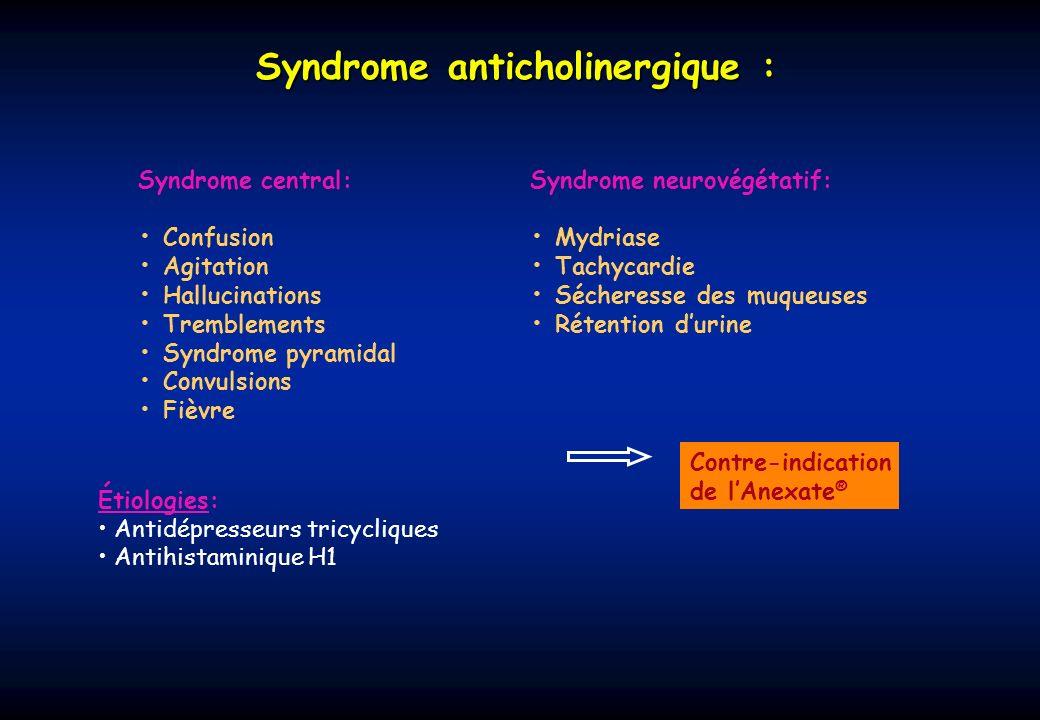 Syndrome cholinergique : Syndrome muscarinique: Myosis Bronchorrhée Bronchospasme Bradycardie Douleurs abdominales Vomissements, diarrhées Sueurs Syndrome nicotinique: Fasciculations musculaires Paralysie Tachycardie HTA Étiologies: Insecticides anticholinestérasiques (carbamates, organophosphorés) Gaz de combats organophosphorés (G et V) Syndrome central:Stimulation initiale puis dépression SNC Agitation, céphalées, tremblements, confusion, ataxie, convulsions, coma Atropine