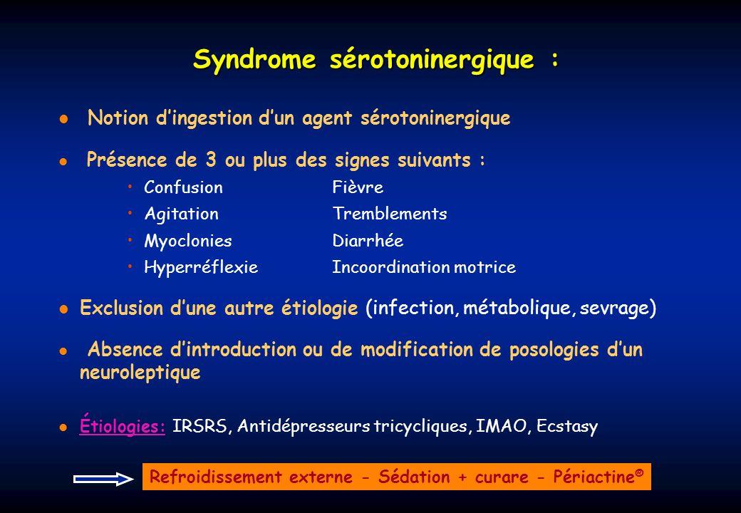 Syndrome sérotoninergique : Notion dingestion dun agent sérotoninergique Présence de 3 ou plus des signes suivants : ConfusionFièvre AgitationTremblem