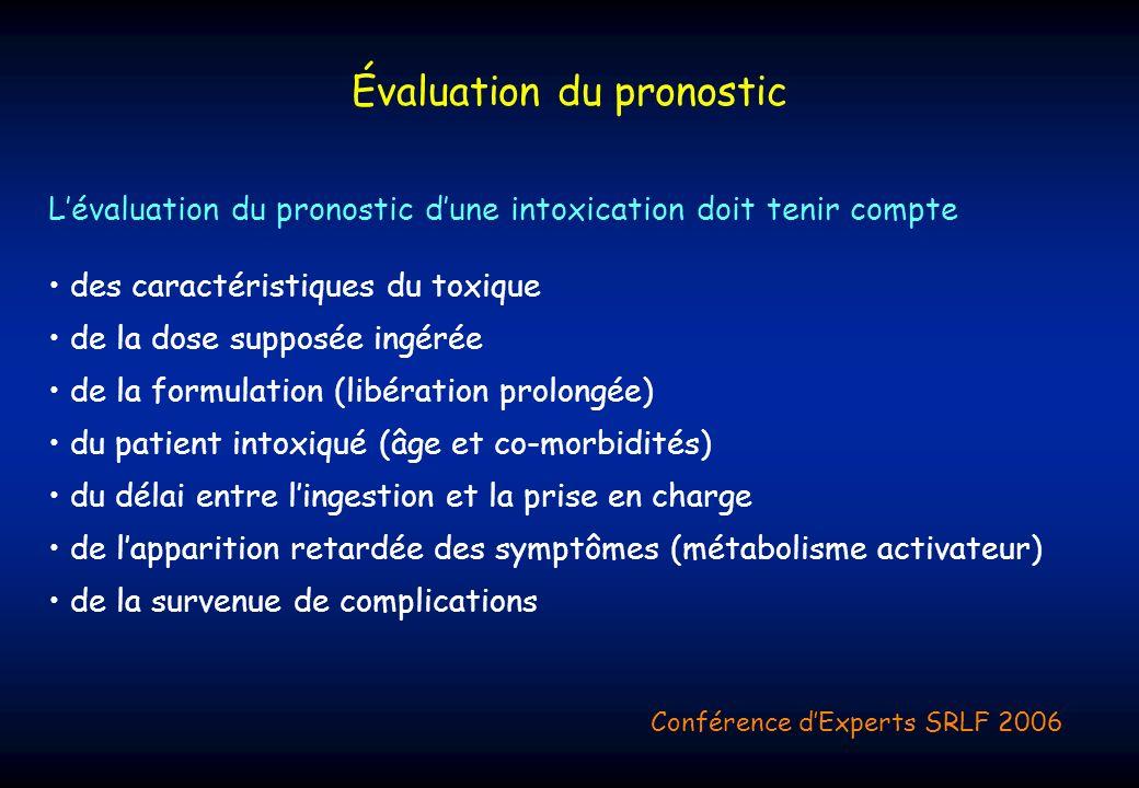 Lévaluation du pronostic dune intoxication doit tenir compte des caractéristiques du toxique de la dose supposée ingérée de la formulation (libération