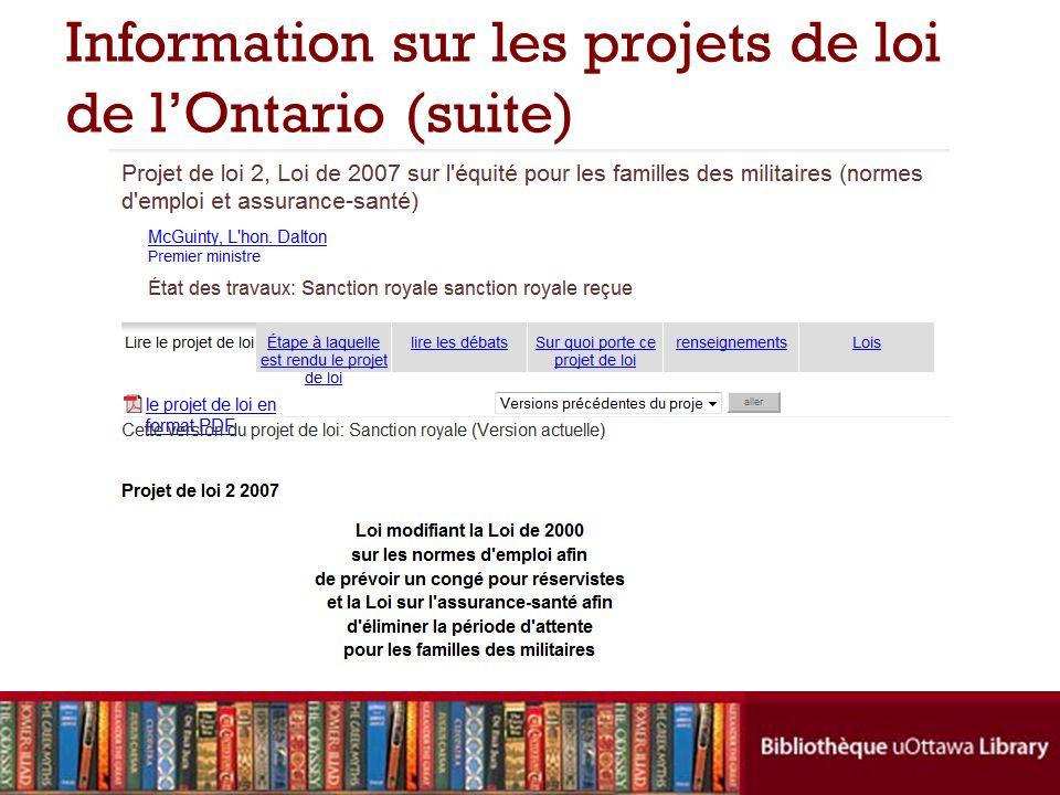 Information sur les projets de loi de lOntario (suite)