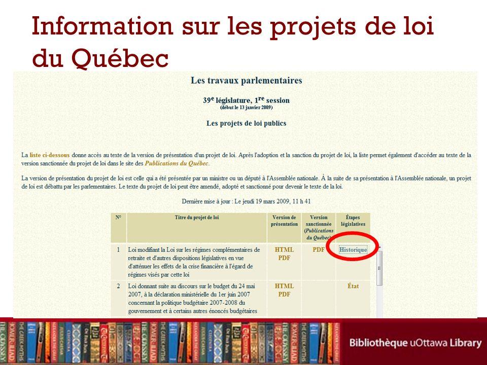 Information sur les projets de loi du Québec
