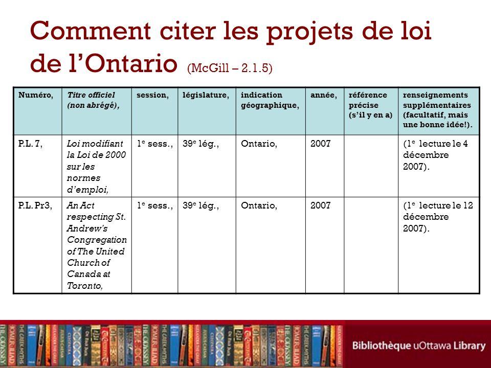 Comment citer les projets de loi de lOntario (McGill – 2.1.5) Numéro,Titre officiel (non abrégé), session,législature,indication géographique, année,r