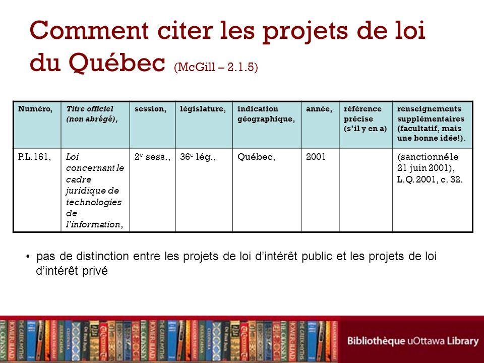 Comment citer les projets de loi du Québec (McGill – 2.1.5) Numéro,Titre officiel (non abrégé), session,législature,indication géographique, année,réf