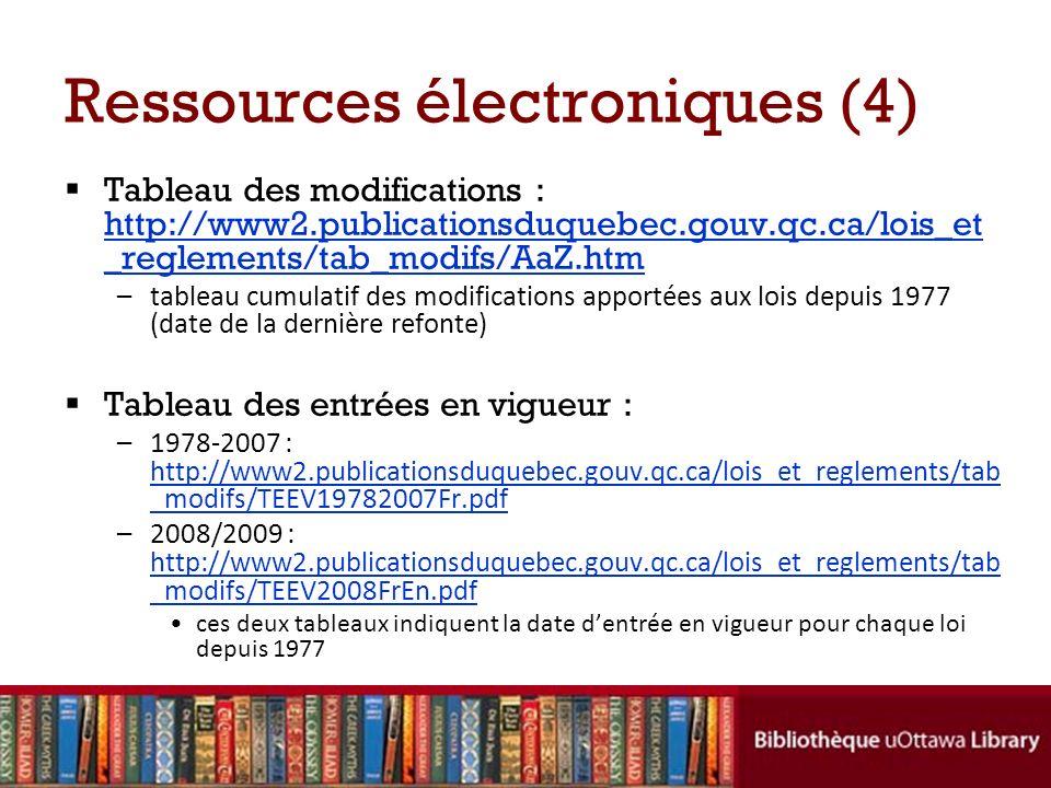 Ressources électroniques (4) Tableau des modifications : http://www2.publicationsduquebec.gouv.qc.ca/lois_et _reglements/tab_modifs/AaZ.htm http://www