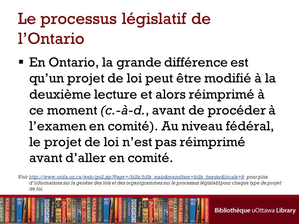 Le processus législatif de lOntario En Ontario, la grande différence est quun projet de loi peut être modifié à la deuxième lecture et alors réimprimé