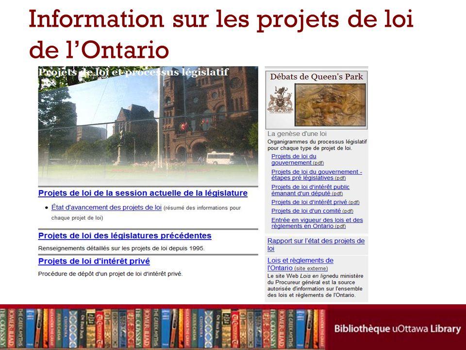 Information sur les projets de loi de lOntario