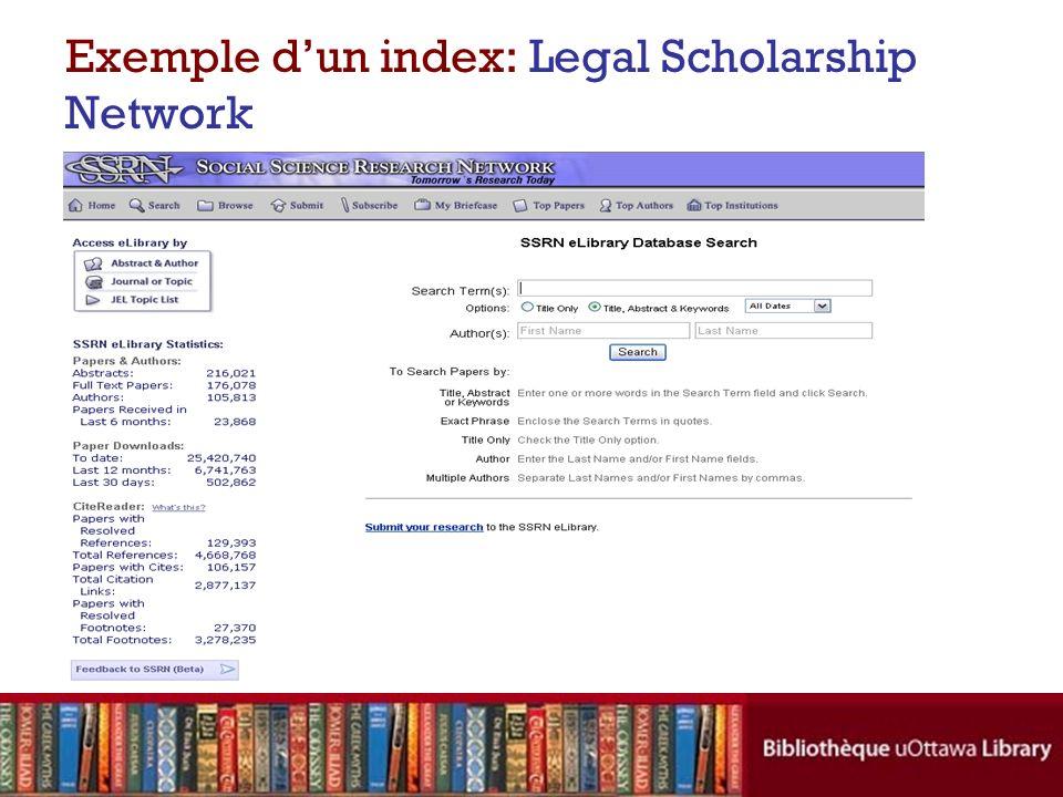 Exemple dun index: Legal Scholarship Network Base de données specialisée en droit utile aux chercheur(e)s et practicien(ne)s intéressé(e)s au droit, l économie et le commerce.