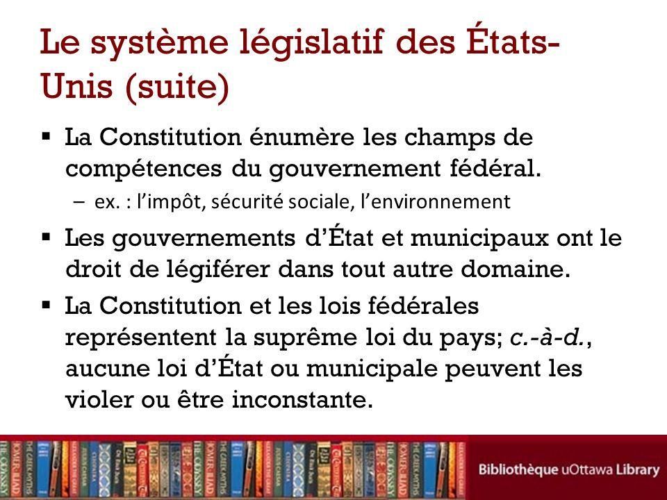 Le système législatif des États- Unis (suite) La Constitution énumère les champs de compétences du gouvernement fédéral.