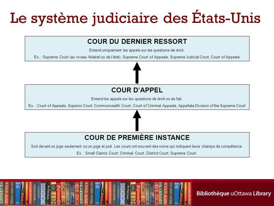 Le système judiciaire des États-Unis COUR DU DERNIER RESSORT Entend uniquement les appels sur les questions de droit.
