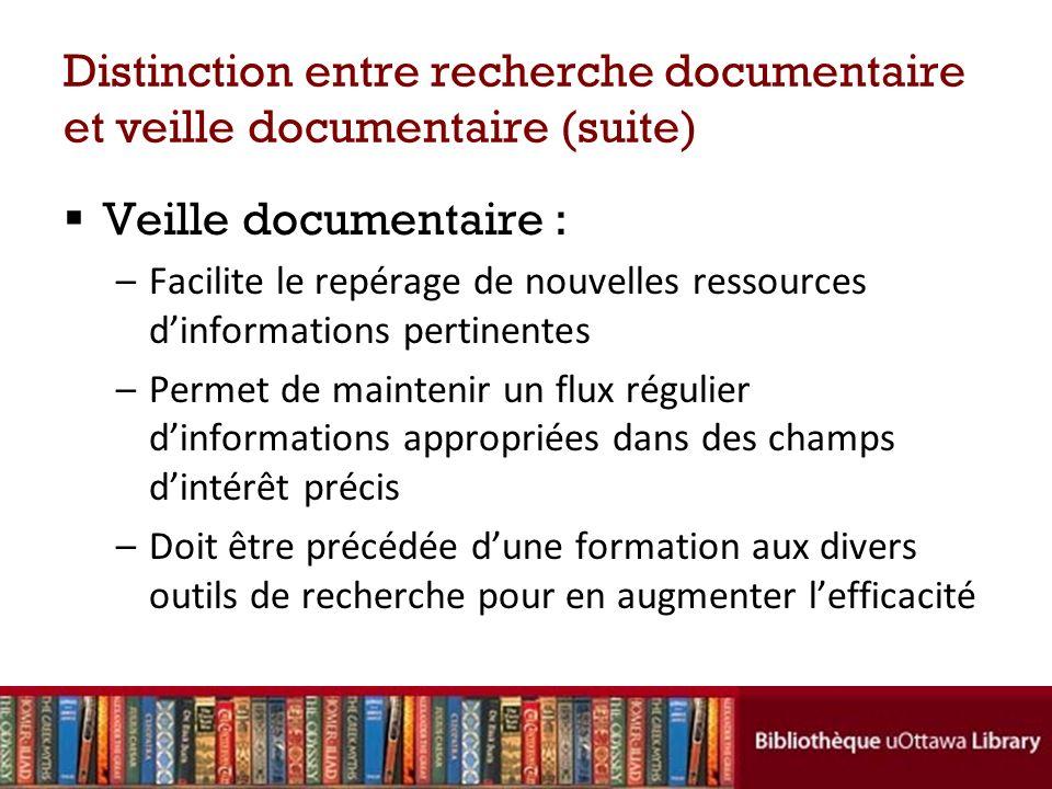 Distinction entre recherche documentaire et veille documentaire (suite) Veille documentaire : –Facilite le repérage de nouvelles ressources dinformati
