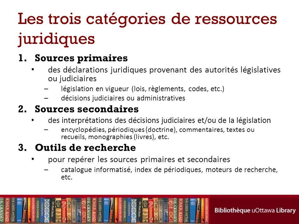 Les trois catégories de ressources juridiques 1.Sources primaires des déclarations juridiques provenant des autorités législatives ou judiciaires –lég